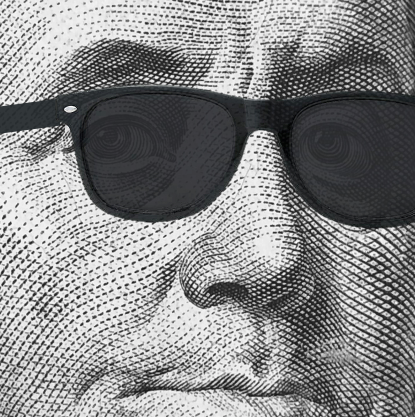 Ben Franklin poses in sunglasses for cryptocurrency webinar.